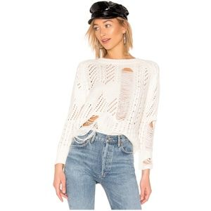 Grayson Distressed Sweater in Ivory